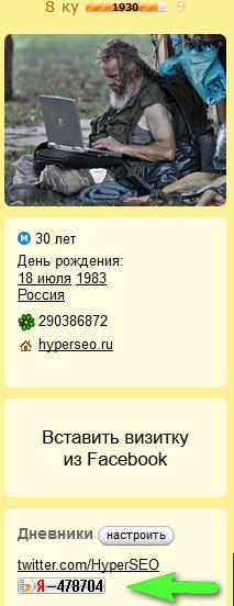 кнопка-счётчик на Я.ру